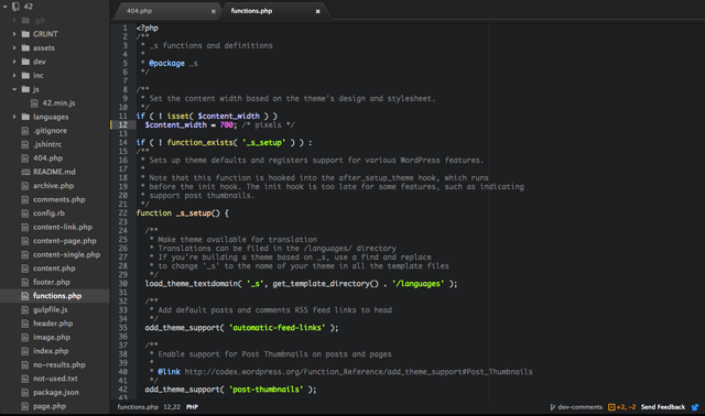 Atom editor displaying functions.php